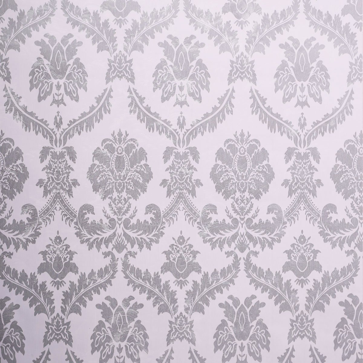SICOHOME Wallpaper,11 Yard Damask Silver Peel Stick Wallpaper by SICOHOME