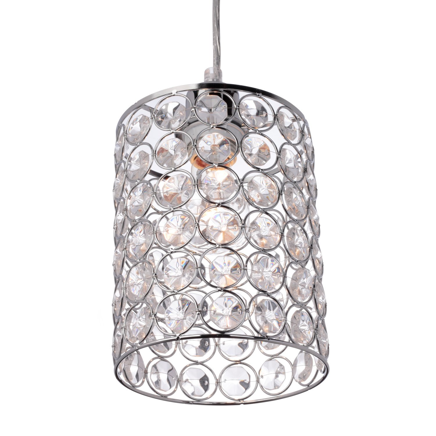 Globe Electric 65012 Trenton 1-Light Mini Pendant, Caged Crystal Shade, Polished Chrome Finish