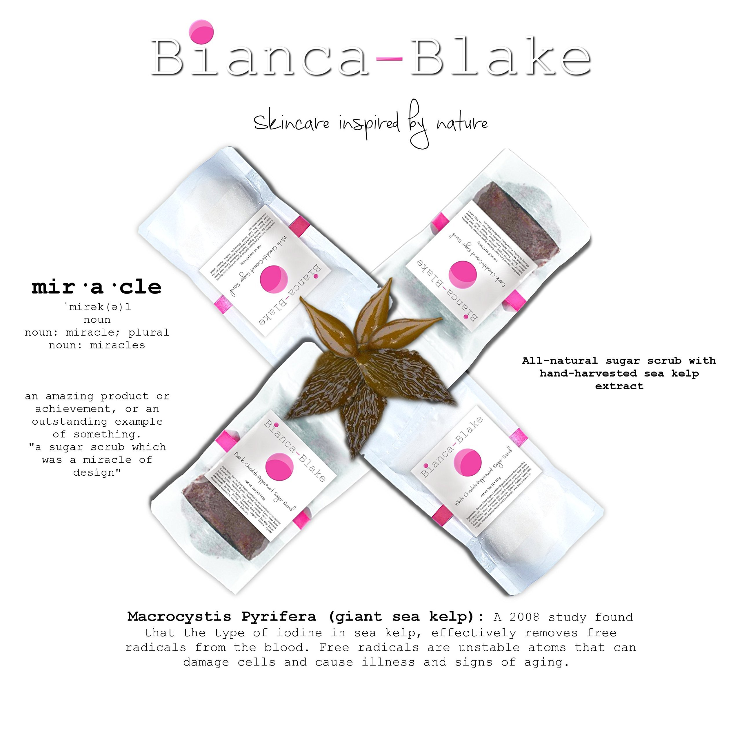 Natural Marine-Based Sugar Scrub made with organic, unrefined coconut oil and cocoa butter, and hand-harvested sea kelp extract