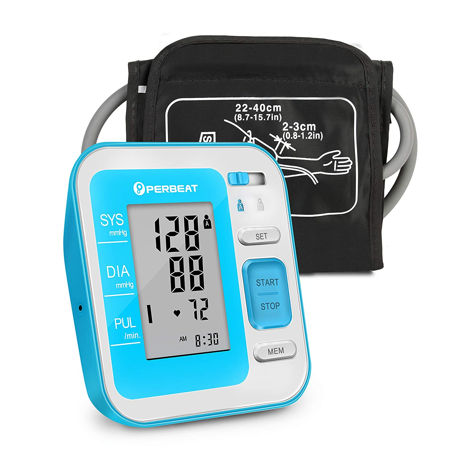Digital Upper Arm Blood Pressure Monitor by PERBEAT, Fully Automatic BP Machine Fits for Standard and Extra Large Arm with Large LCD Display, 2 * 120 Memory Storage Voice Broadcast – FDA Approved