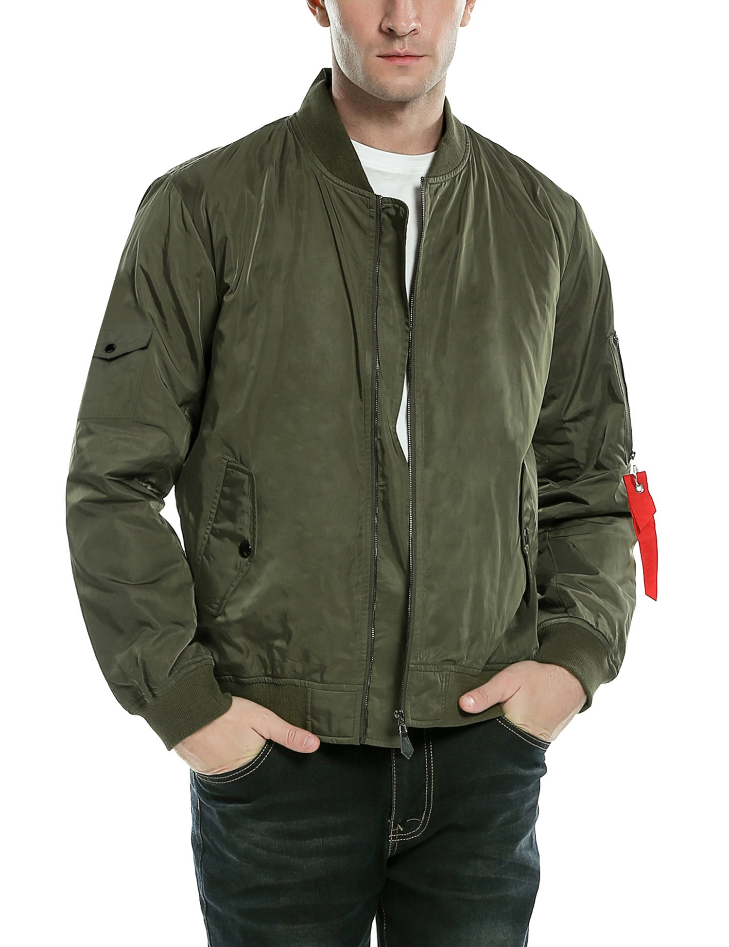 COOFAMDY Mens Flight Bomber Jacket Casual Lightweight Windbreaker Zip-Front Golf Jacket Army Green by COOFANDY