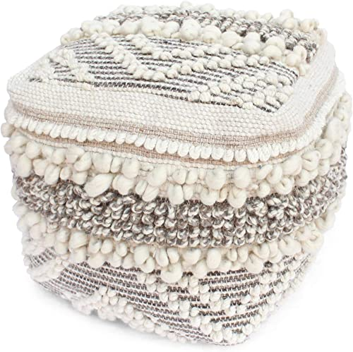 Great Deal Furniture Annabelle Boho Cube Wool and Cotton Pouf