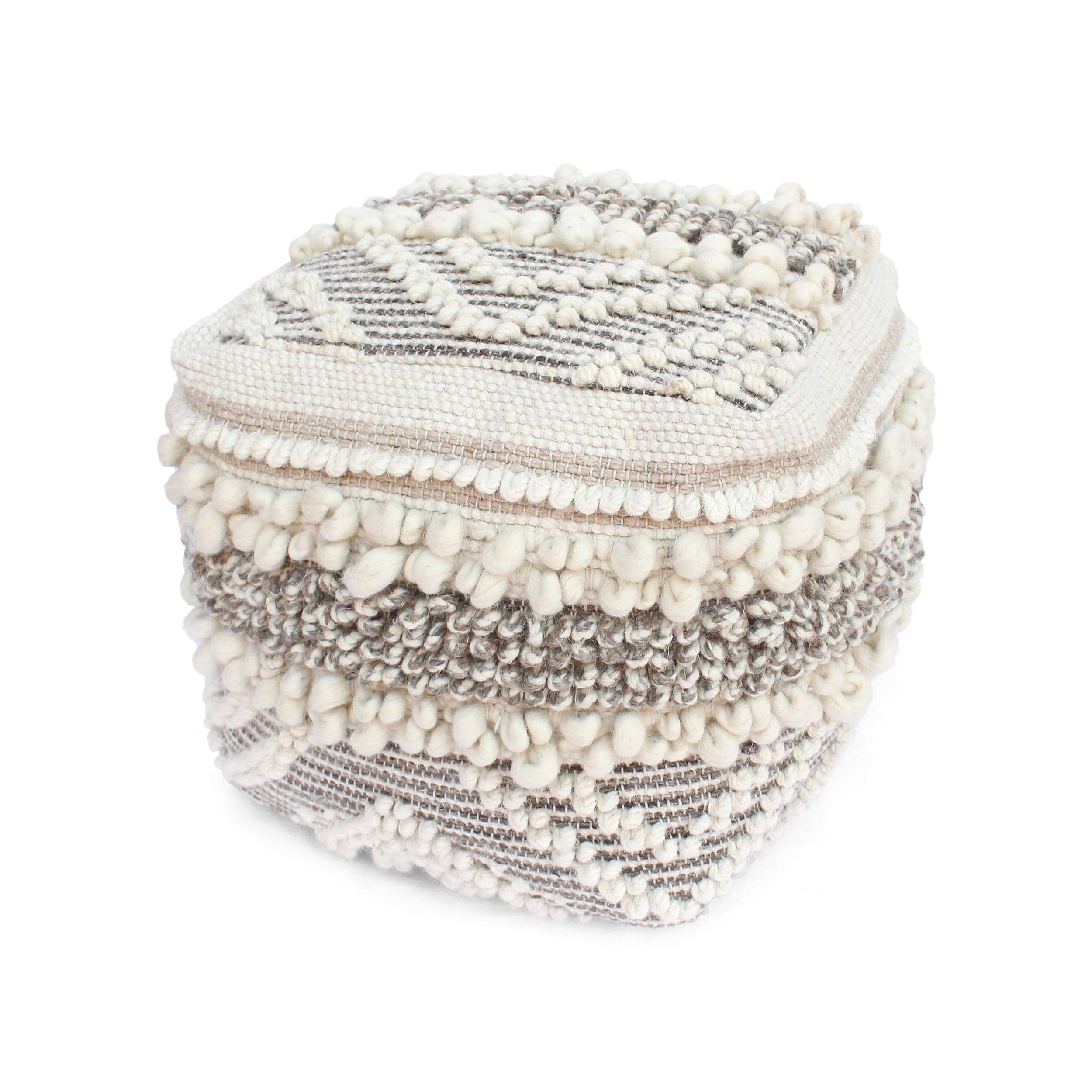 Great Deal Furniture Annabelle Contemporary Wool and Cotton Pouf Ottoman, Natural and White by Great Deal Furniture