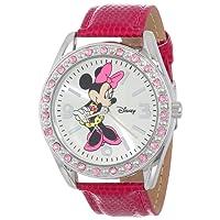 Disney Women's Minnie Mouse Sunray Dial Lizard Watch Silver MN1010