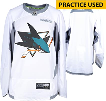 San Jose Sharks Practice-Used White Reebok Jersey - Size 58 ... 76a5df4a038