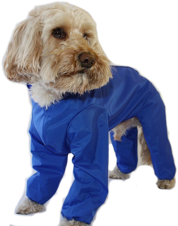 Trouser Suit Waterproof Dog Rain Coat Onesie Blue (18 inch) Doggie Coats