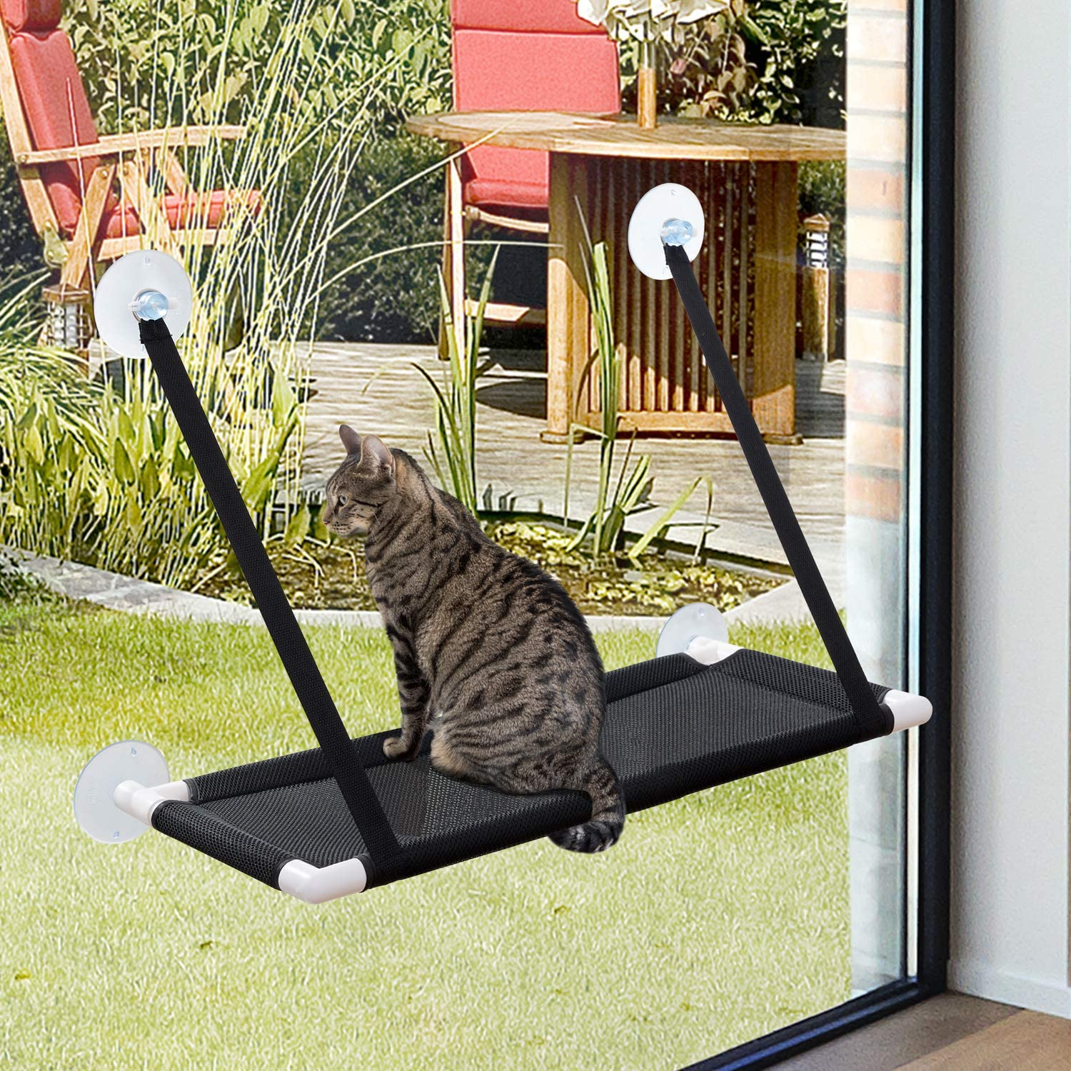Cat Window Perch for Large Cats Breathable Mesh 360 Degree Sunbathing and Landscape 4 Suction Cups Carry 20 Pound Cat hammocks for Indoor Cats Tempcore Cat Hammock