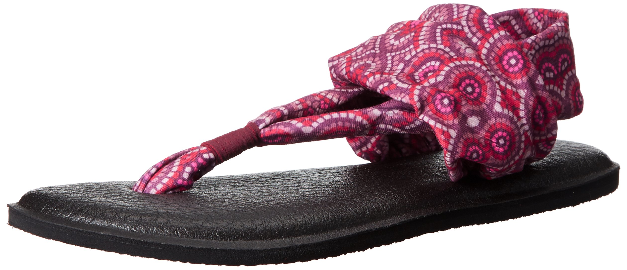 Sanuk Women's Yoga Sling 2 Prints Flip Flop, Burgundy Multi Radio Love, 8 M US