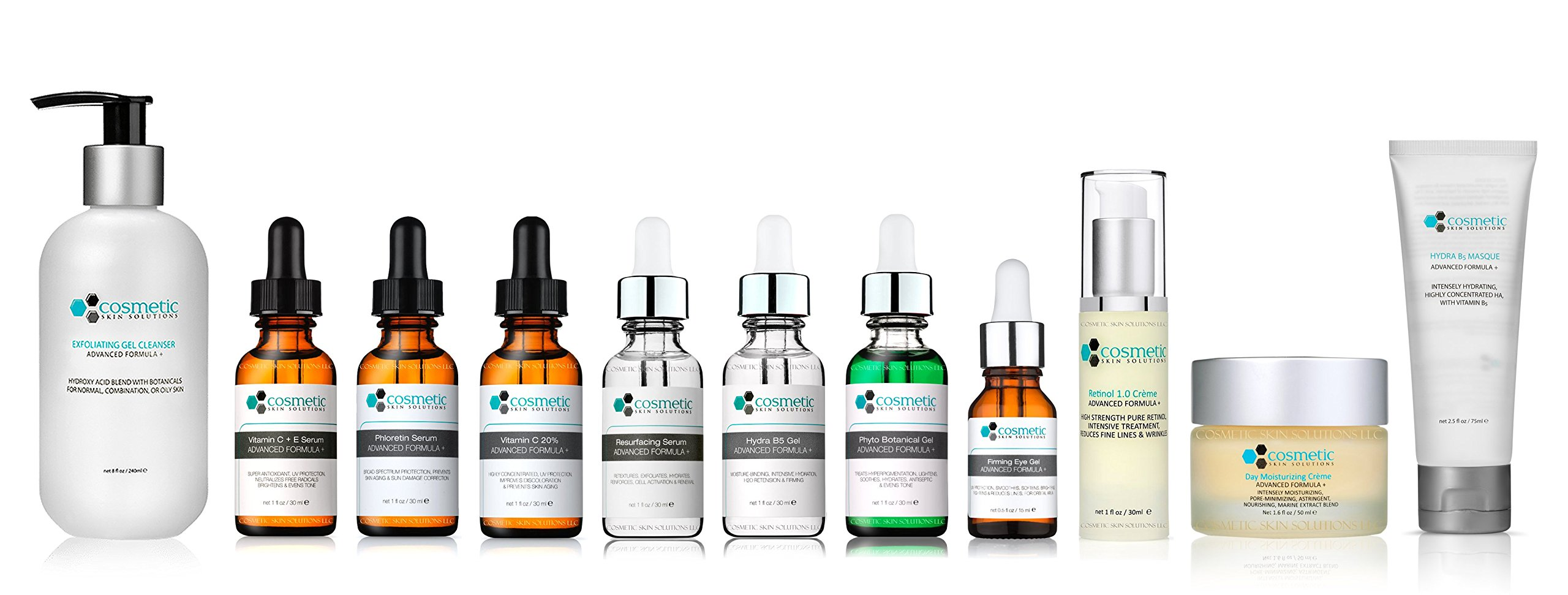 11 Combo Pack Includes EXCLUSIVE SET - Cleanser, Retinol, Vitamin C+E, Phloretin, C 20%, Resurface, Phyto, B5, Eye, Moisturizer, Masque, Advanced Formula, ULTIMATE & COMPLETE ANTI-AGING Skincare Line, 100% Safe & Effective, No Parabens or Oils