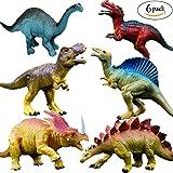 "OuMuaMua Realistic Dinosaur Figure Toys - 6 Pack 7"" Large Size Plastic Dinosaur Set Kids Toddler Education, Including T-rex, Stegosaurus, Monoclonius, etc"