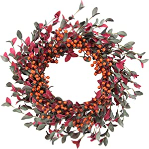 """LAVERNE'S FLOWER 22"""" Large Front Door Wreath Artificial Lifelike Decorative Wreaths with Red Berry Leaves for Wall Decor Winter, Holiday, Festival, Outdoor and Indoor Farmhouse Decoration"""