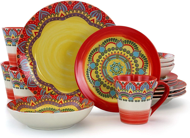 Elama Multicolored Round Stoneware Mandala Pattern Dinnerware Set, 16 Piece, Red