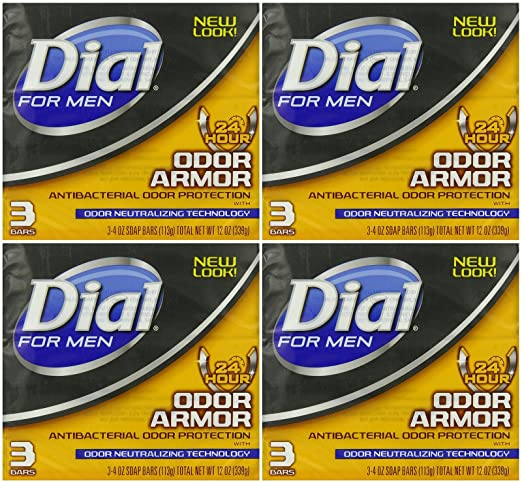 Dial for Men Odor Armor Antibacterial Soap, 3 Count, 4 Ounce (Pack of 4) 12 Bars Total