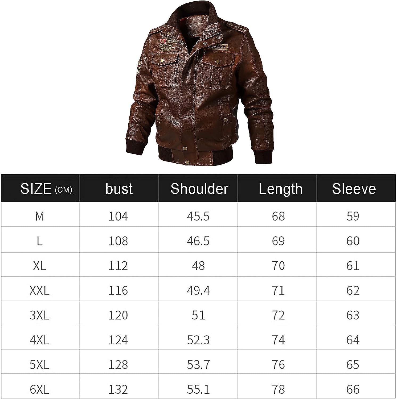 CRWOOL Hommes Veste Simili-Cuir Blouson Coton Vestes Transition Moto Manteau Chaud, L- 6XL (crjak035) Brown