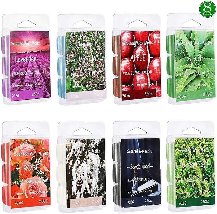 Vanrener Scented Wax Melts -Set of 8 (2.5 oz) Assorted Wax Warmer Cubes/Tarts - Apple, Aloe, Green Tea, Sandalwood, Rose, Vanilla, Jasmine, Lavender