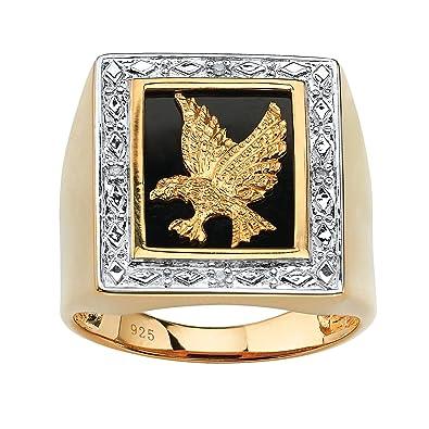 57b1fc4f7473 Palm Beach Jewelry Anillo para hombre - Oro amarillo 18k sobre plata de ley  - Ónice