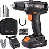 "Tacklife PCD05B 20V MAX 3/8"" Cordless Drill Driver Set, 2-Speed Max Torque 265 In-lbs 19+1 Position with LED, 43pcs Accessories Included, 2.0Ah Lithium-Ion Battery"