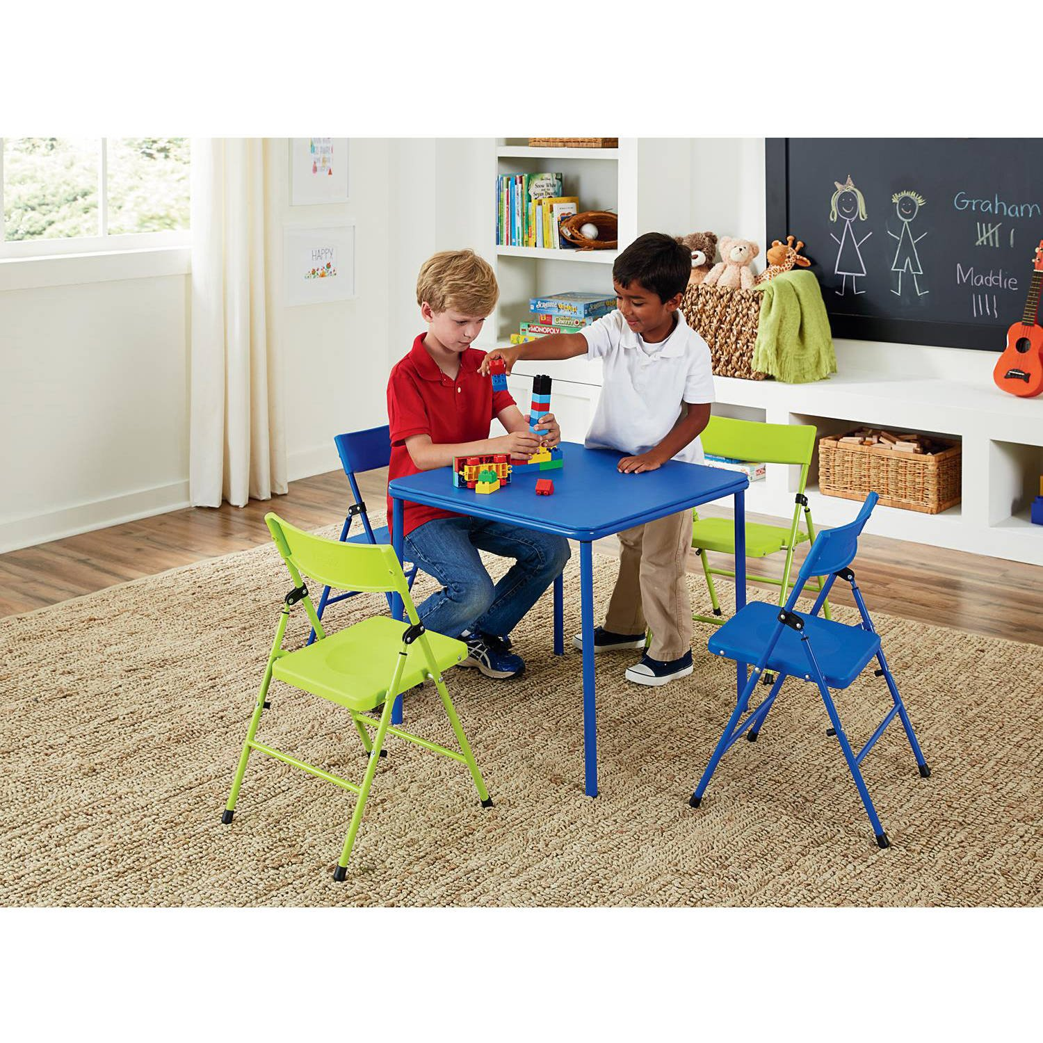Multi-functional Cosco Kid's 5 Piece Folding Chair and Table Set, Blue and Lime Green