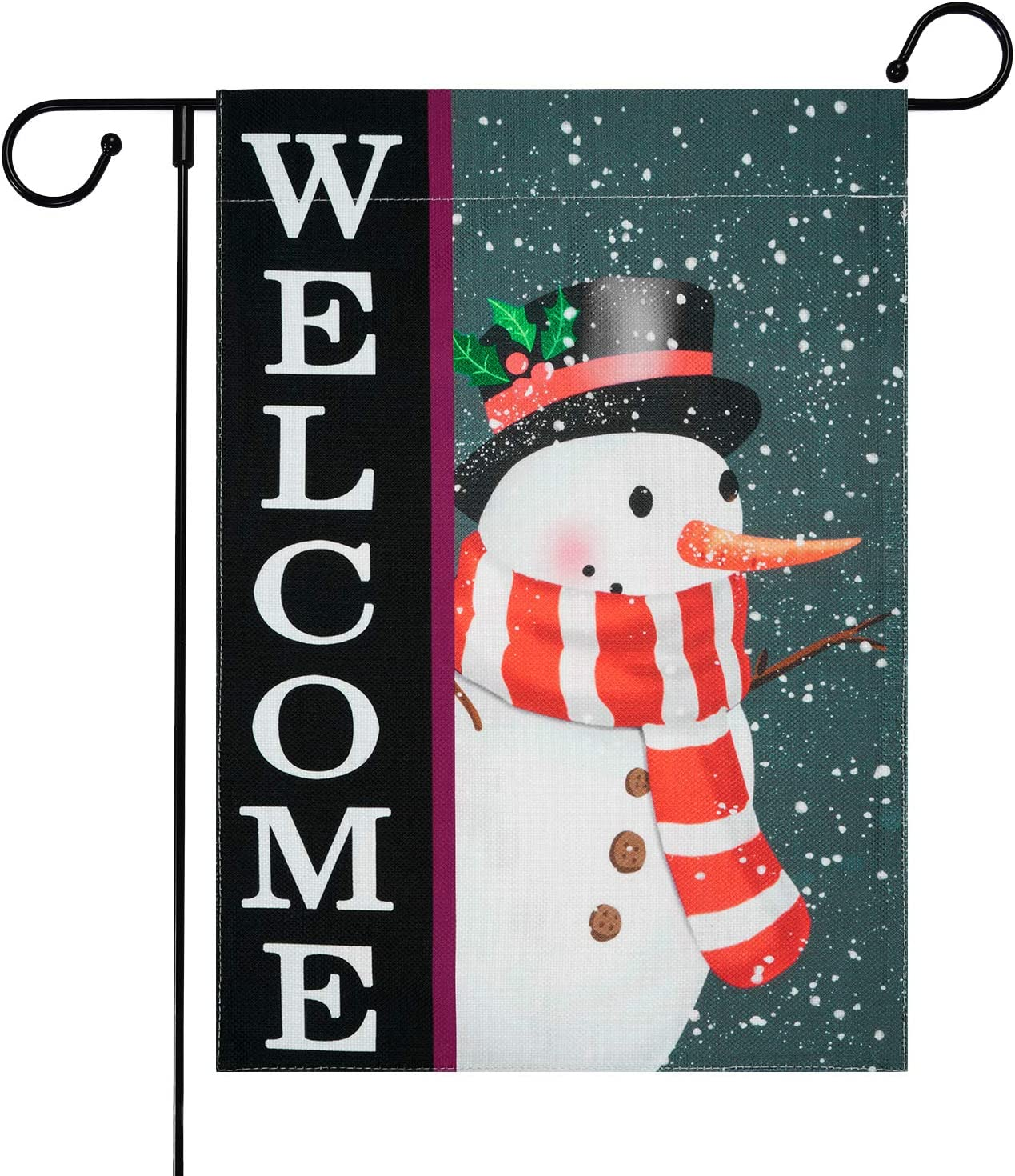 Ikfashoni Christmas Garden Flag for Outside, Double Sided Snowman Yard Flags, Winter Burlap Garden Yard Decorations with Welcome Quote, Seasonal Outdoor Flag, 12.5 x 18