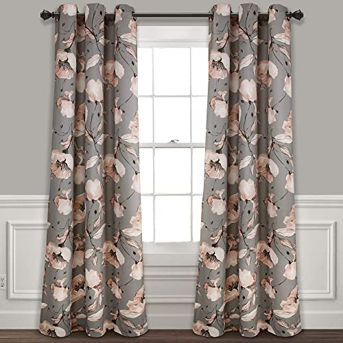 Lush Decor Blush-and-Gray Delsey Floral Blackout Window Curtain Set 84 x 38