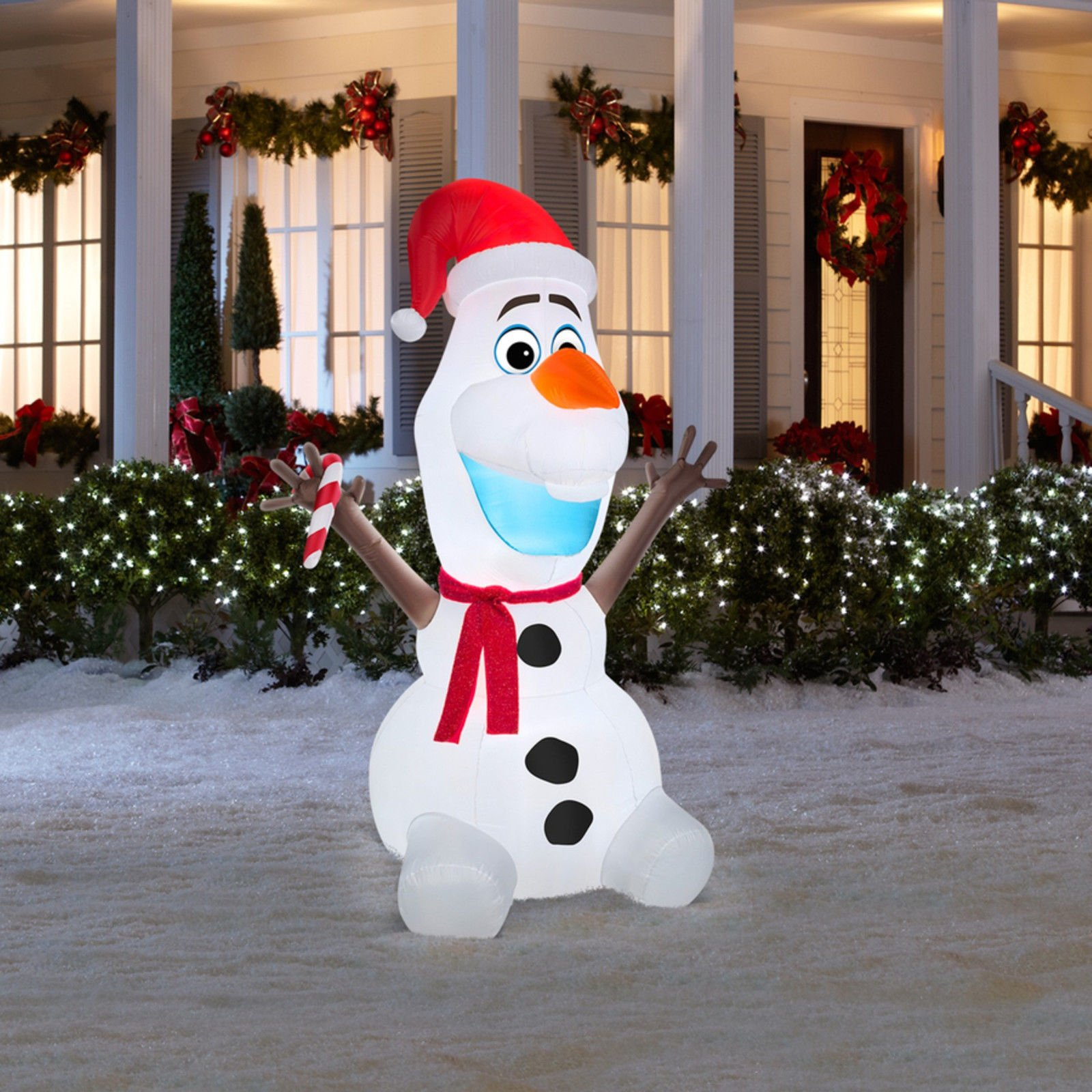 Gemmy Airblown Inflatable Olaf Wearing Santa Hat and Holding Candy Cane, Christmas Yard Decoration Props, 6-foot Tall by Gemmy (Image #2)