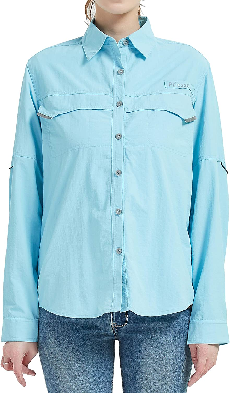 Priessei Women's UPF 50+ Hiking Shirts Long Sleeve Outdoor Shirts for Camping Fishing Breathable and Fast Dry