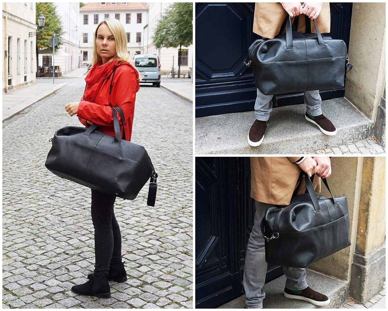 LECONI Reisetasche Weekender Sporttasche Damen Herren Leder schwarz LE2024