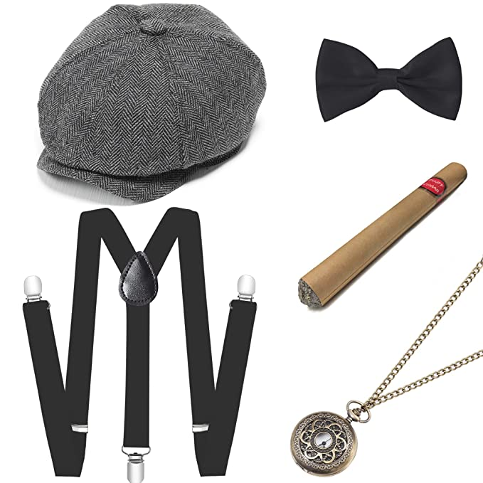 1920s Mens Accessories: Gloves, Spats, Pocket Watch, Collar Bar BABEYOND 1920s Mens Gatsby Gangster Costume Accessories Set 30s Manhattan Fedora Hat Suspenders $25.99 AT vintagedancer.com