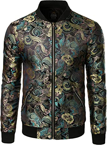 JOGAL Men's Luxury Paisley Embroidered Satin Bomber Jacket Coat at Amazon  Men's Clothing store
