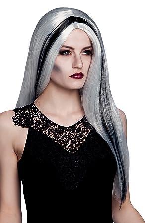 Boland 86103 - Bruja peluca de pelo blanco con rayas negro Aurora