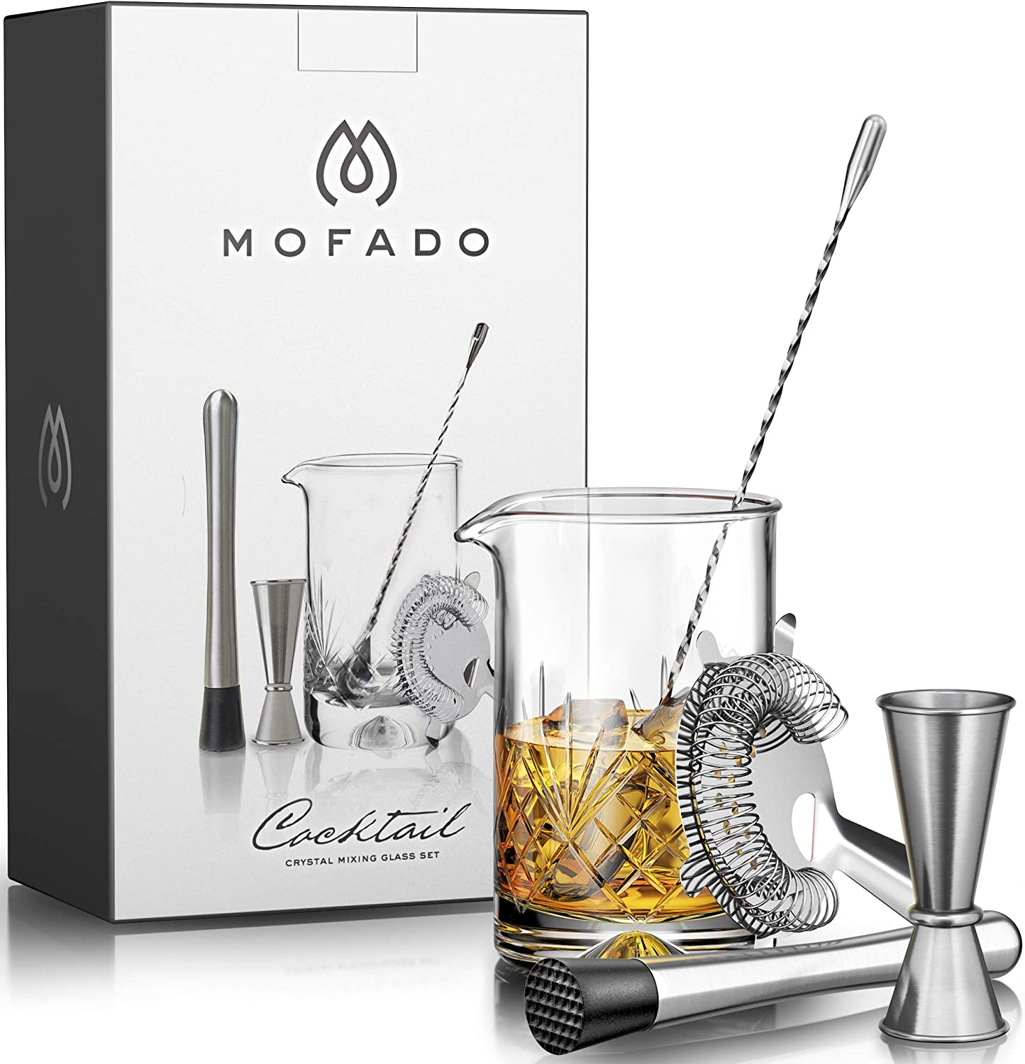 Premium Cocktail Mixing Glass Set – Thick Bottom 18oz – 550ml – Seamless Lead Free Crystal Mixing Glass, Spoon, Jigger, Strainer Muddler – Professional Quality – Makes a Great Gift
