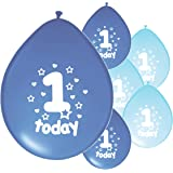 10 x 1ST BIRTHDAY BOY/ AGE 1 BOY LIGHT BLUE AND BLUE MIX PACK BIRTHDAY BALLOONS (PA)