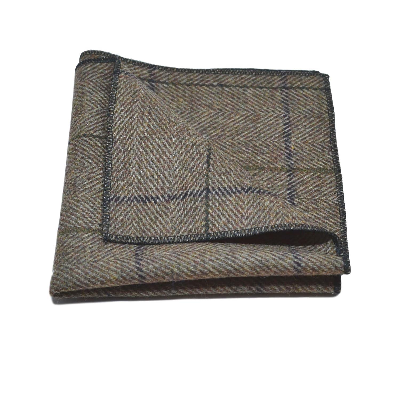 Tweed Handkerchief Luxury Peanut Brown Herringbone Check Pocket Square