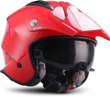 Soxon, Casco de Moto, Rojo, tamaño L (59 – 60 ...