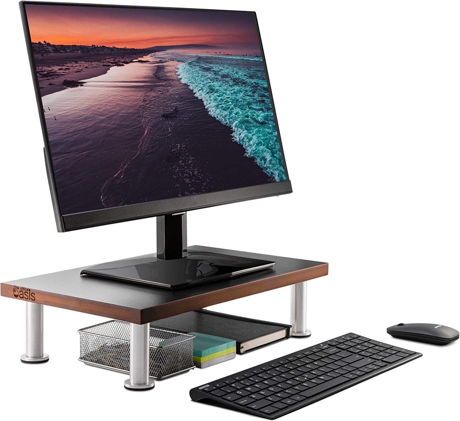 Monitor Stand for Computer & Laptop Screen - Solid Bamboo Riser Supports The Heaviest Monitors, Printers, or TVs - Perfect Shelf Organizer for Office Desk Accessories & TV Stands (Brown)