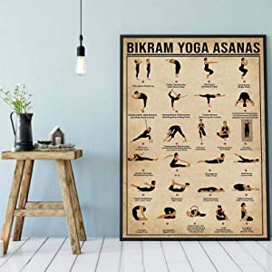 Vintage Wall Decor for Living Room Yoga Poster Bikram Yoga Asanas Yoga Prints Poster Vintage Posters Wall Decoration Signs For Home