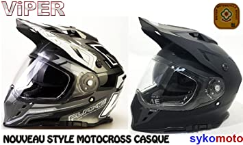 VIPER RX-V288 ADULTOS MOTOCROSS ENDURO ATV QUAD CARRERAS DOBLE VISERA CASCO (L,