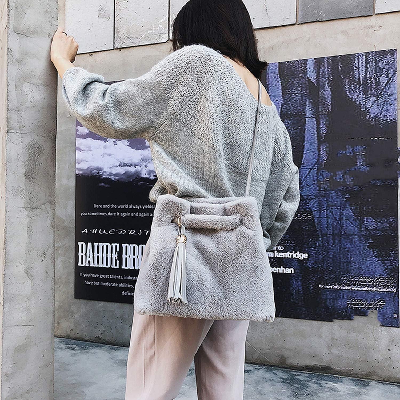 Women tassel Crossbody Bag Faux Fur Plush Cony Hair tote bags