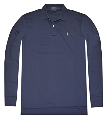 Polo Ralph Lauren Men's Pima Soft Touch Long-Sleeved Polo Shirt (Small,  French