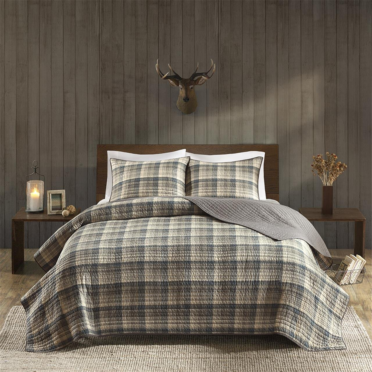 Woolrich Tasha Full/Queen Size Quilt Bedding Set - Tan, Plaid – 3 Piece Bedding Quilt Coverlets – Cotton Flannel Bed Quilts Quilted Coverlet