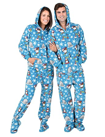 2cdfc1547e Amazon.com  Footed Pajamas - Winter Wonderland Adult Hoodie Fleece Onesie   Clothing