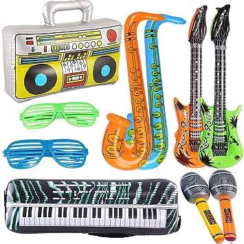 Yojoloin 10 UNIDS Jumbo Inflables Guitarra Saxofón Micrófono Boom Box Instrumentos Musicales Accesorios para Fiesta Suministros Favores de Fiesta ...
