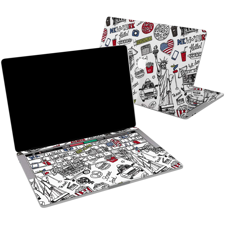 Lex Altern Vinyl Skin for MacBook Air 13 inch Mac Pro 15 Retina 12 11 2019 2018 2017 2016 2015 America Sketch Black Red Cute York Creative Fancy Keyboard Decal Sticker Designed Wrap Laptop Trackpad