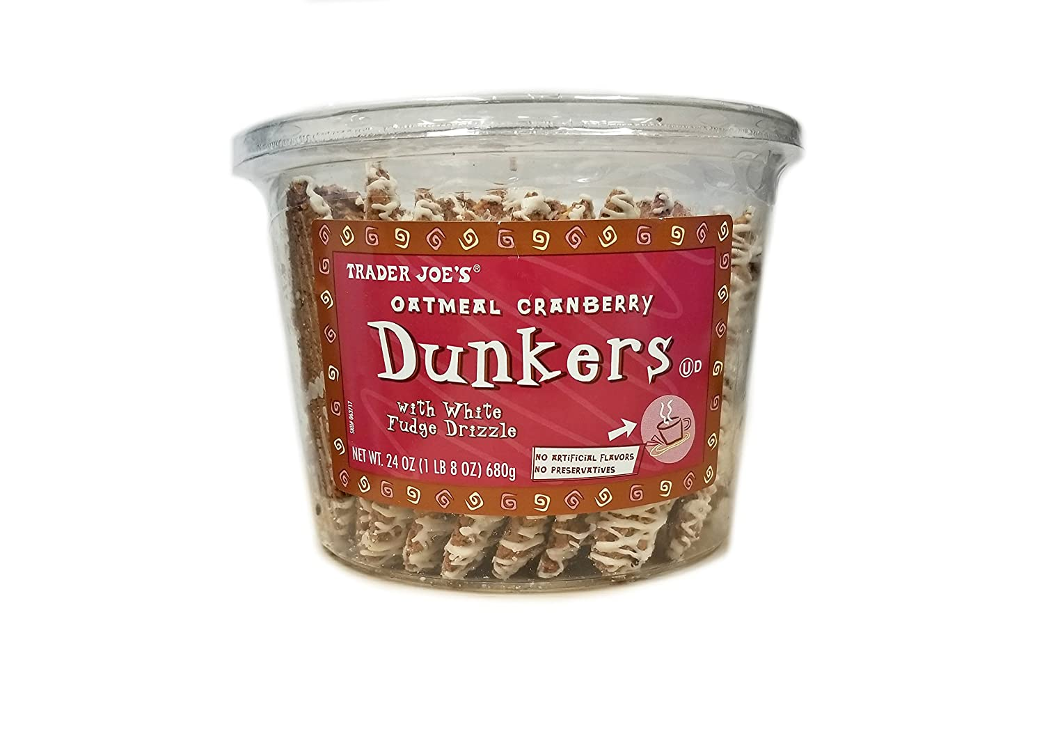 Trader Joe's Oatmeal Cranberry Dunkers with White Fudge Drizzle (24oz) 1 LB 8 oz