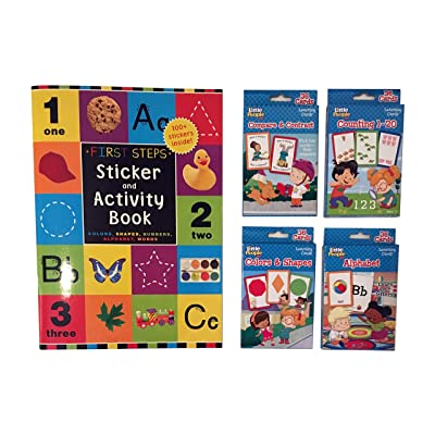 Little People Flash Cards Set - Counting 1-20, Colors and Shapes, Alphabet, and Compare & Contrast, Plus 20-Page Sticker & Activity Book - 5 Piece Set (Flash Cards): Toys & Games