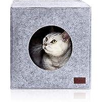 PiuPet® Premium kattbädd inkl. kudde, lämplig för t.ex. Kallax och Expedit, kattbäddar i grått, mysigt katthus, kattkorg