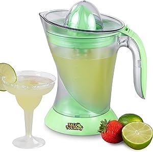 Nostalgia Taco Tuesday Electric Lime Juicer & Margarita Kit, Holds Margaritas, Daiquiris, Smoothies, Slushies, with Salt/Sugar Rimmer, Includes Four 8-Oz. Glasses, 32-Ounce, Green
