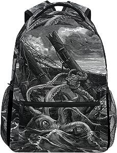 ZZKKO Sea Monster Kraken Black and White Boys Girls School Computer Backpacks Book Bag Travel Hiking Camping Daypack
