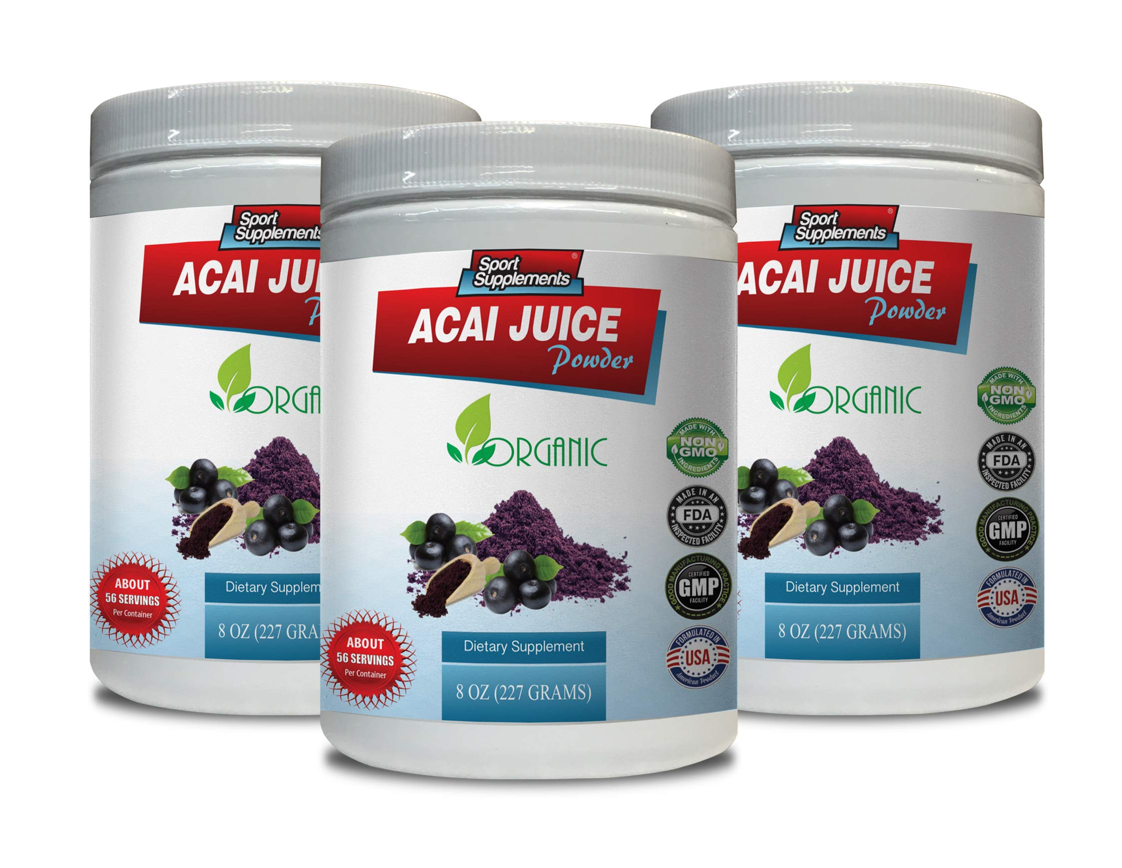 Immunity Booster Powder - ACAI Juice Powder - Organic Dietary Supplement - Pure acai Natural - 3 Cans 24 OZ (195 Servings)