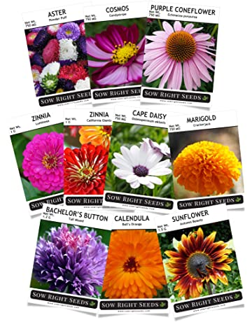 sow right seeds - flower seed garden collection - sunflower, marigold,  zinnia, cosmos
